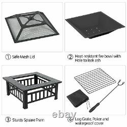Quality Fire Pit BBQ Firepit Garden Square Table Stove Patio Heater with Grill