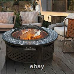 Round Fire Pit XL Large Outdoor Garden Firepit Table Heater BBQ Brazier & Grill