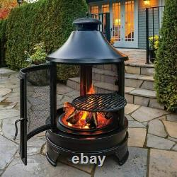 Rustic Outdoor Fireplace Chimenea with Cooking Grill Fire Pit