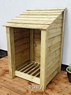 Single Bay 4ft Wooden Outdoor Log Store, Garden Fire Wood Storage Hand Made