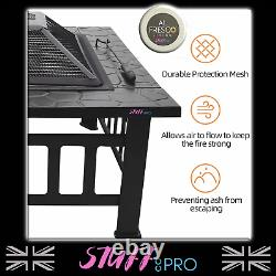 Square BBQ Fire Pit Outdoor Heating Log Burner With Mesh Guard And Grill