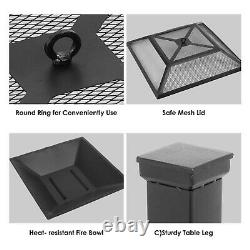 Square Fire Pit Bbq Grill Outdoor Garden Square Table Stove Patio Heater 81cm