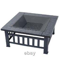 Square Fire Pits Garden Patio Heater Stove Outdoor Metal Brazier with BBQ Grill