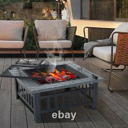 Square Garden Fire Pit BBQ Grill Outdoor Firepit Stove Patio Heater Food Griller