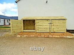 Triple Bay 4ft Outdoor Wooden Log Store, Fire Wood Garden Shed, Clearance Range