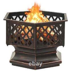 VidaXL Rustic Fire Pit with Poker XXL Steel Fire Bowl Patio Heater Home Garden
