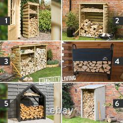 Wooden Log Store Rack Outdoor Garden Fire Wood Storage Logs Shed 6 Styles Sizes