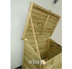 Wooden Outdoor Log Chest, Garden Fire Wood Storage Box