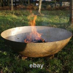 120cm MILD Steel Fire Pit Burner Bowl Garden Heater Camping Rust Bonfire Accueil