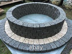 150cm Fire Pit Granite Béton Cheminée Dalle Gris Foncé Jardin Patio Jardin Bbq