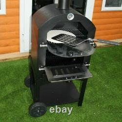 3-en-1 Charcoal Wood Fired Outdoor Pizza Cuisson Four Bbq Grill Fumer Avec Roue