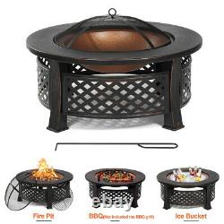 32 Feu Rond Foyer Brazier Bowl Garden Burner Heater Camping Extérieur