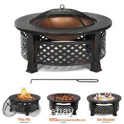 32 Fire Pit Firepit Brazier Bowl Garden Round Burner Heater Camping Extérieur