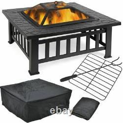 32'' Jardin Extérieur Bbq Fire Pit Large Firepit Brazier Square Stove Patio Heater