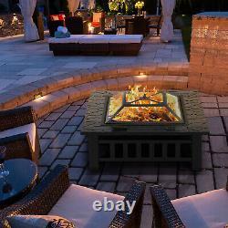 32'' Jardin Extérieur Fire Pit Grand 3in1firepit Brazier Square Stove Patio Heater