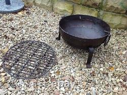 40cm Fire Pit Indian Fire Bowl Set / Poêle Travaillée À La Main En Fer Indien Kadai