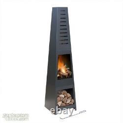 5ft Chiminea Pyramid Log Burner Garden Fire Pit Wood Log Store Skyline Modèle