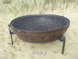 70cm Travaillé À La Main En Fer Brut Indian Fire Bowl / Fire Pit (kadai Style)