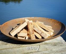 80cm Curved Corten Steel Fire Pit Burner Dish Garden Heater Camping Bonfire
