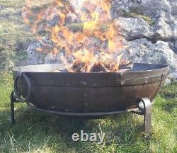 90cm Fer Brut Fer Garden Fire Bowl Hand Made Pit Indian Kadai Karahi Large