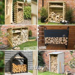 Bois Log Store Rack Outdoor Garden Fire Wood Storage Logs Shed 6 Styles Tailles