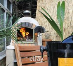 Brick Wood Fired Outdoor Pizza Four 100cm Blanc Deluxe Modèle En Bois- Bbq