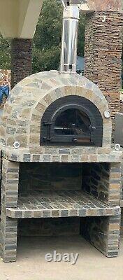 Brique Au Bois Extérieur Cuit Four À Pizza 100cm Prestige Porte En Fonte Solide Et Base