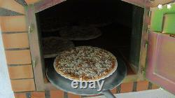 Brique Au Bois Extérieur Cuit Four À Pizza 90cm Deluxe Supplémentaire Avec Cheminée De 100cm & Bouchon