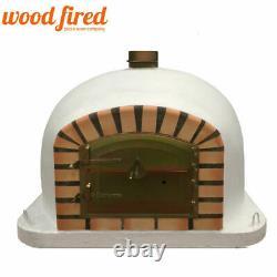 Brique Extérieur Feu De Bois Pizza Four 100cm Blanc Modèle Deluxe Avec Support Assorti