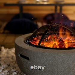 Charles Bentley 60cm Tour De Magnésie Fire Pit Avec Couverture Mesh Grille De Cuisson
