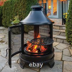Cuisine En Acier Extérieur Fire Pit Avec Balançoire En Fer Barbecue/grill + Fire Poker