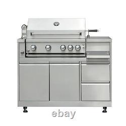 Cuisine Extérieure En 7 Pièces, Barbecue, Plaques De Cuisson, Évier, Réfrigérateur, Four À Pizza À Bois