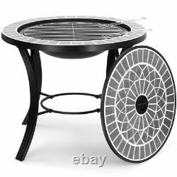 Dark Grey Mosaic Tile Firepit Bbq Table Fire Pit Barbecue Grill Garden Outdoor