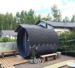 Deluxe Outdoor Barrel Sauna Plein Mur De Verre Arrière Heater M3 Chauffage Au Feu De Bois