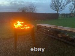 En Acier Corten Élevé Foyer/boîte D'incendie/jardin Brûleur/chauffeur De Patio/barbecue
