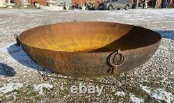 Énorme Original En Fer Indien Kadai Fire Pit Bowl 187cm Diamètre Inclut Stand