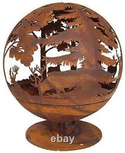 Esschert Design Fallen Fruits Oxydé Woodland Globe Sphere Fire Pit Basket