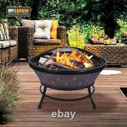 Extra Grand Extérieur Fire Pit Round Bowl Vintage Copper Effect Patio Garden