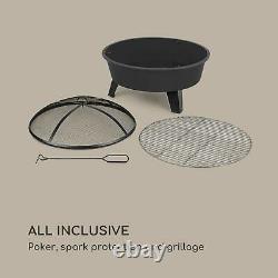Fire Bowl Firepit Garden Bbq Patio Heater Ø73cm Grill Grate Poker Noir