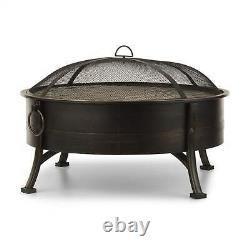 Fire Bowl Grill Garden Bbq Outdoor Heater Firepit Patio Ø80cm Poker Steel Noir