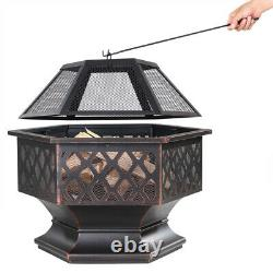 Fire Pit 70x60.5cm Log Garden Patio Extérieur Firepit Heater Brazier Burner Noir