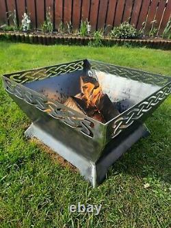 Fire Pit Bbq Jardin Extérieur Patio Acier Doux Fer Camping Celtique Rustique Noeud