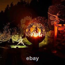 Fire Pit Fairy Garden Firepit Metal Ball Heater Globe Bowl Christmas Uk