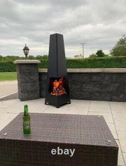 Fire Pit Garden Grand Jardin Extérieur Patio Black Steel Contemporain Chiminea