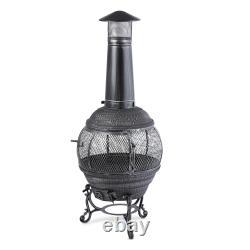 Fire Pit Patio Heater Garden Wood Charcoal Burner Outdoor Cast Iron Steel 140cm