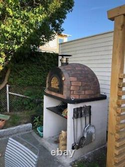 Four À Pizza Au Feu De Bois Extérieur 100cm Prestige Rustico Brique + Porte En Fonte