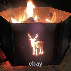 Foyer D'incendie En Acier D'hexagone, Avec Grille De Cuisson Et Bac Royaume-uni Fabriqué P&p Gratuit