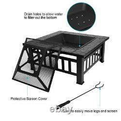 Foyer Extérieur Bbq Firepit Brazier Garden Square Table Stove Patio Heater Uk