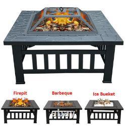 Foyer Extérieur Chauffe-feu Square Table Garden Stove Patio Barbecue Firepit Brazier 81cm