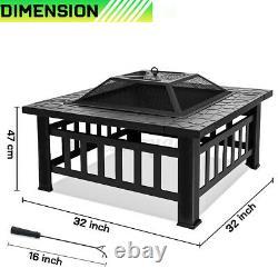 Foyer Extérieur Firepit Brazier Garden Table Carrée Poêle Patio Chauffe-glace 82cm